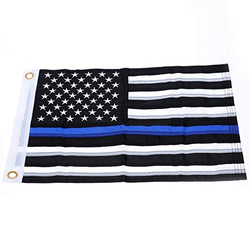 Yafeco U.S. 50 Star Sewn Boat Flag, Nylon Embroidered Police Officer Thin Blue Line Motorcycle Yacht Boat Ensign Nautical US American Flag Fully with Sewn Stripes, 12 x 18 inch