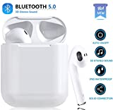 Bluetooth Earbuds, Bluetooth 5.0 Wireless Earbuds, Noise Canceling IPX6 Waterproof Sports Headset, Pop-ups Auto Pairing with Portable Charging Case, Compatible with Apple Airpods Android/iPhone