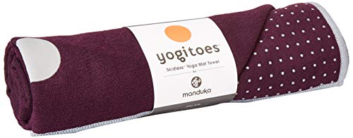 Manduka Yogitoes Yoga Towel – Rubber Grip Dots Non-Slip Bottom, Quick Dry Fitness Towel for Hot Yoga, Pilates, Exercise - 68 Inch, Indulge Color