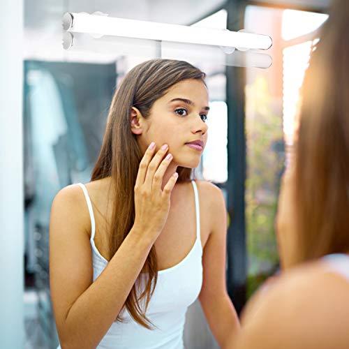 Hengda LED Spiegelleuchte Kabellos, Neutralweiß Schminklicht mit Touch Schalter, Dimmbar Spiegellampe USB wiederaufladbar für Kosmetikspiegel Schminktisch Badzimmer Spiegel