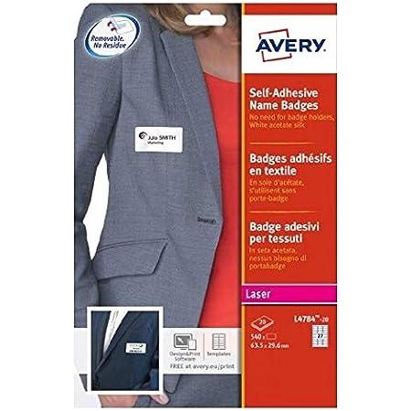 AVERY - Pochette de 540 badges autocollants imprimables pour textile, En soie d'acétate blanche, Format 63,5 x 29,6 mm, Impression laser, (L4784-20)