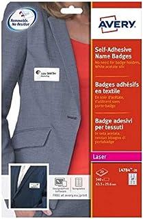 AVERY - Pochette de 540 badges autocollants imprimables pour textile, En soie d'acétate blanche, Format 63,5 x 29,6 mm, Im...
