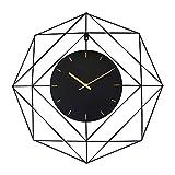 FLIPS 24 Pulgadas Moderno Negro Y Dorado Reloj De Pared,Interior Silencioso Batería Funcionado Metal Relojes para Dormitorios,Salón,Oficina O Aula Decoración Reloj De Pared-Negro 60x60cm(24x24inch)