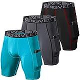 ZENGVEE Lot de 3 Shorts de Compression pour Hommes Short de Course à Pied Cool Dry avec Poches latérales pour la Course, l'entraînement, l'entraînement, la Gym(1011-Black Grey Lake-XL)