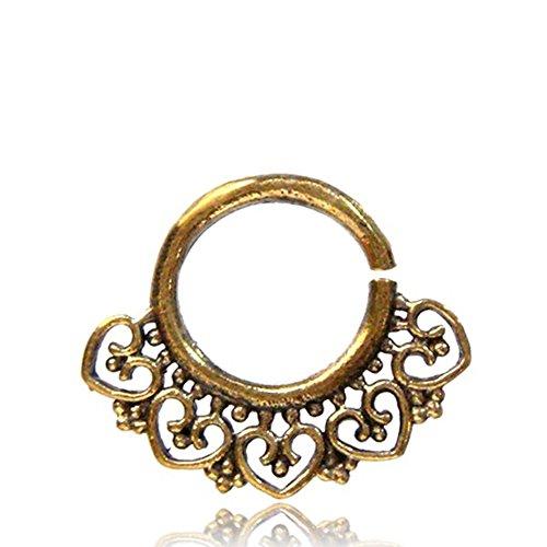 Chic-Net Septum Piercing Nasenringe Herz Spiralbögen Punkte Messing 1-6 mm golden Ohrring exotisch antik