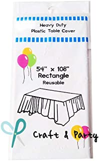 """Best Evershine (12-Pack) Heavy Duty Plastic Table Covers Tablecloth (Reusable) (Rectangle 54"""" X 108"""", White) Review"""