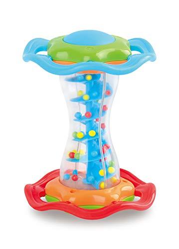 Miniland- Juguete Musical para bebés. Palo de Lluvia de Sonido Agradable, Color Azul/Rojo/Naranja (97285)