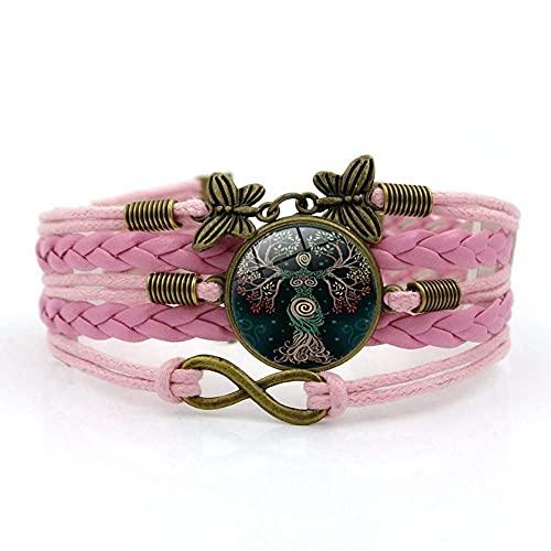 Pulsera tejida, Cuerda rosa Elegante árbol de la planta de la vida, Tiempo Pulsera de piedras preciosas Multi-capa Mano tejida de vidrio Joyería de la joyería de las señoras de la moda de la joyería d