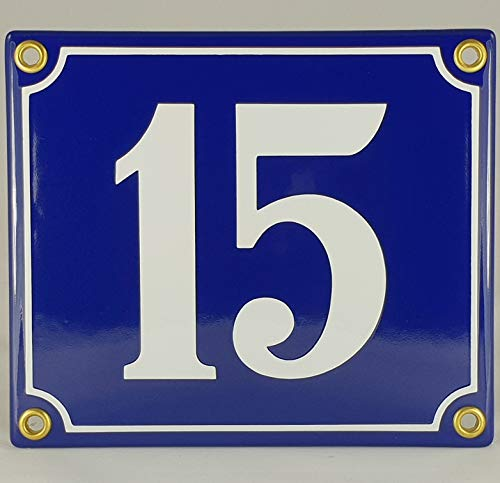 Emaille Schild Hausnummer 15 Blau-Weiß