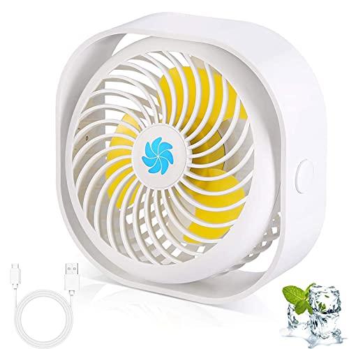 EasyULT USB Ventilatore da Scrivania, Portatile Ventilatore con 3 Velocità Regolabile, Mini Ventilatore Silenzioso Rotazione 360 °, per Casa, Scrivania, Aria, Viaggi, USB Alimentato(Bianca)