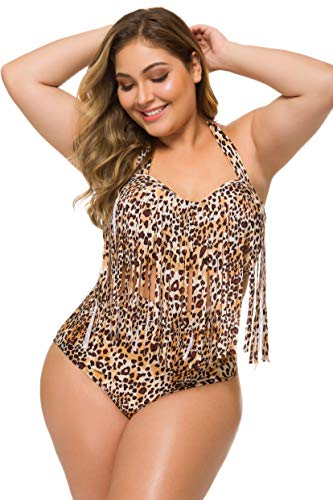 Spring Fever Women Plus Size High Waist Retro Braided Fringe Top Two Piece Swimwear Swimsuit Bikini Set F Leopard X-Large