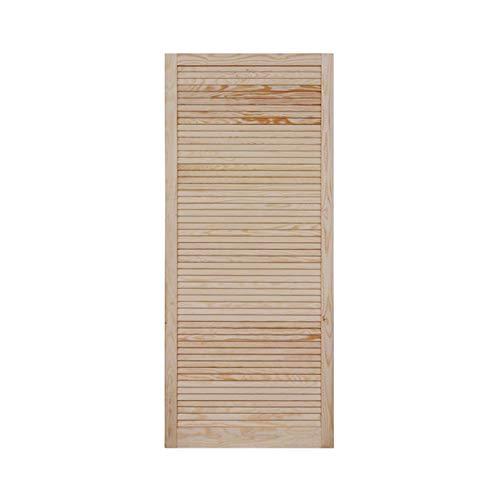 Lamellentür Holztür natur 1400 x 594 x 21 mm mit geschlossenen Lamellen für Regale, Schränke, Möbel | Kiefer Holz unbehandelt
