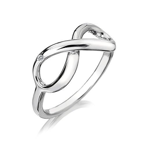 Hot Diamonds DR144/S - Anillo de plata con diamante (.01), talla 19 5/8