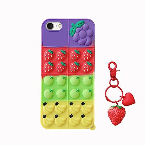 Pop Bubble Fidget Toys Handyhülle für iPhone 6/6S/7/8/SE 2020 Hülle,3D Bubble Sensory Toy Phone Case Bunt Frucht Silikon TPU Schutzhülle mit Frucht Anhänger, Süße Weich Silikon Handyhülle für Frauen