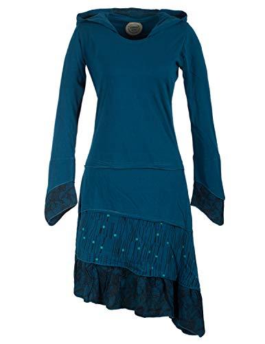 Vishes - Alternative Bekleidung - Lagenlook Langarm Patchwork Elfenkleid mit Zipfelkapuze und Rüschen türkis 44