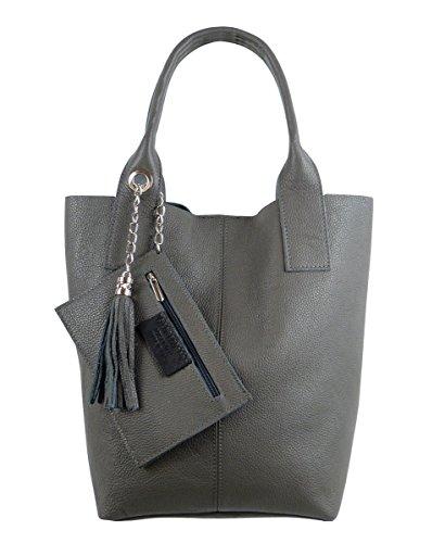 Freyday Damen Echtleder Shopper mit Schmucktasche in vielen Farben Schultertasche Henkeltasche Handtasche Metallic look (Dunkelgrau)