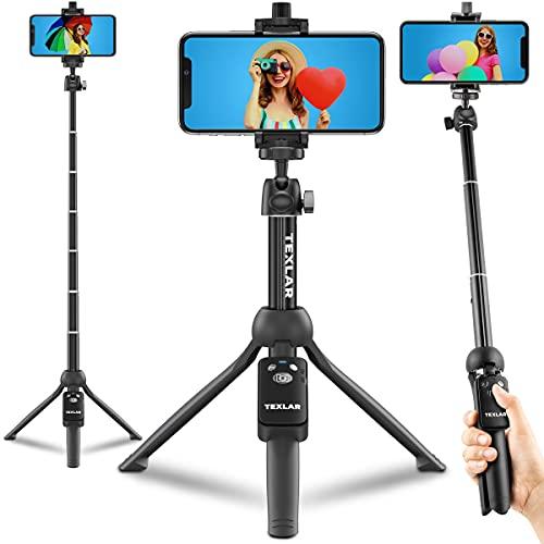 Texlar Trípode para selfie de 48 pulgadas con control remoto para iPhone 13, 12, 11, XR, X, 8, 7, Pro, Max, Plus, SE, teléfono Android, Smartphone - TS48 Pro pequeño soporte para teléfono celular