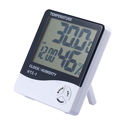 Termometro Igrometro Interno, Temperatura di Monitoraggio Umidità LCD Digitale, Orologio Sveglia