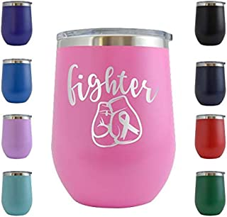 Fighter Gloves Pink Ribbon Cancer - Engraved 12 oz Stemless Wine Tumbler Cup Glass Etched - Funny Birthday Gift Ideas for, her, mom, wife, mother Breast Cancer Awareness Survivor (Pink - 12 oz)