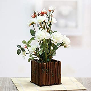 Agoodname Fake Flowers with Vase for Table- Set Rose Fake Silk Artificial Flowers + Wooden Fence Vase for Home Living Room Garden Table Decoration
