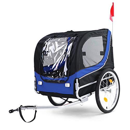 RAMROXX 37996 Fahrradanhänger Hundeanhänger klappbar für Haustiere Blau Schwarz bis 40Kg