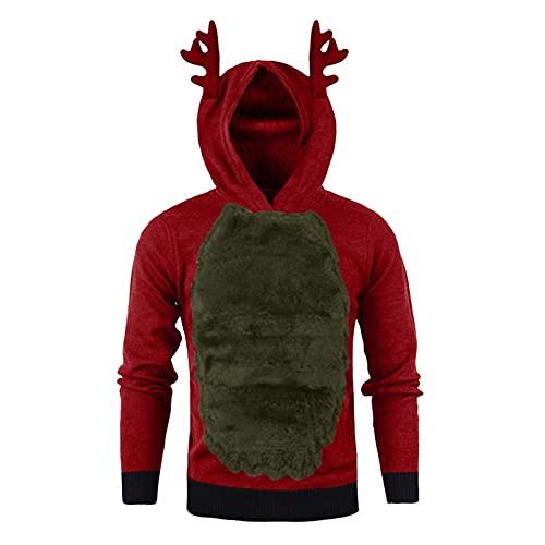 WXZZ Sudadera con capucha de ciervo para hombre, de forro polar, con capucha, para otoño, de manga larga, para Navidad, rojo, L