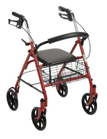 "4 Wheel Rollator, Folding Red Steel Frame, 7 1/2"" Wheels, Adjustable 31"" to 37"""