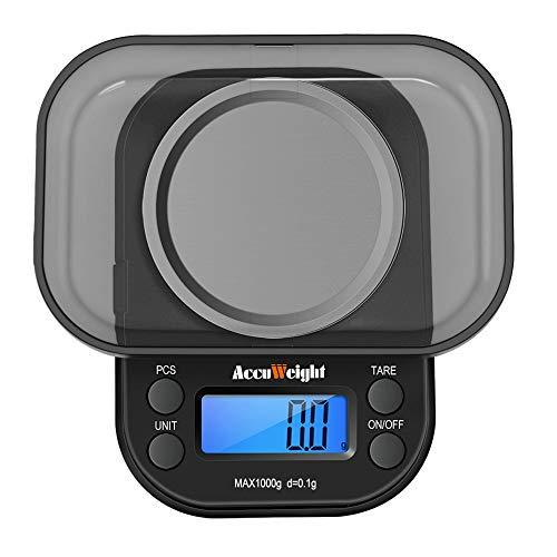 ACCUWEIGHT 255 Mini Balance de Poche 0.1g Électronique Balance de Precision avec Écran LCD Rétro-éclairage, Fonction de Tare, Comptage de Pièces, 1000g Maximum