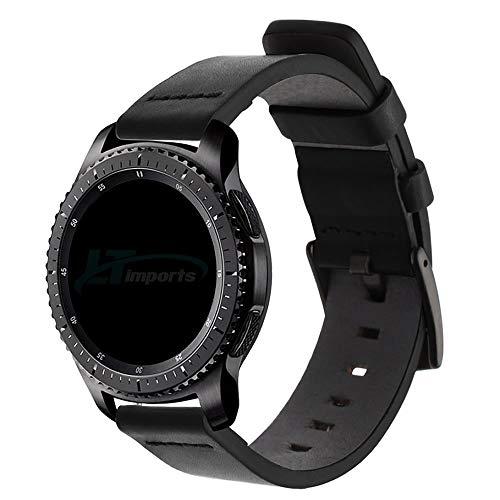 Pulseira de Couro 22mm compatível com Samsung Galaxy Watch 3 45mm - Galaxy Watch 46mm - Gear S3 Frontier - Gear S3 Classic - Amazfit GTR 47mm - Marca Ltimports (Preto)