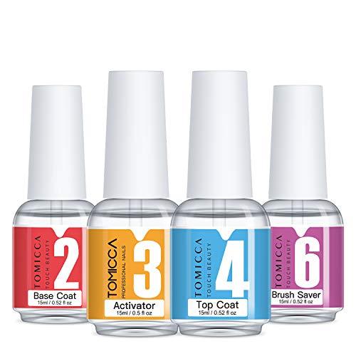 Tomicca Acryliques Liquides,Dip Powder Gel Liquid Set,Base Top Coat , Activateur , Brush Saver pour Dip Powder Nails , Acrylique Manucure
