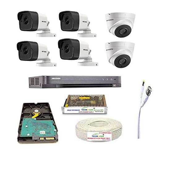 HIKVISION Full HD 5MP Cameras Combo KIT 8CH HD DVR+ 4 Bullet Cameras + 2 Dome Cameras+1TB Hard DISC+ Wire ROLL +Supply & All Required CONNECTORS, Techno-Krat