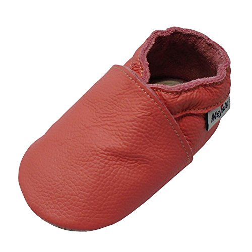 Mejale Baby Soft Soled Leather Moccasins Anti-Slip Infant Toddler Shoes First Walkers(Watermelon Pink,12-18 Mos)