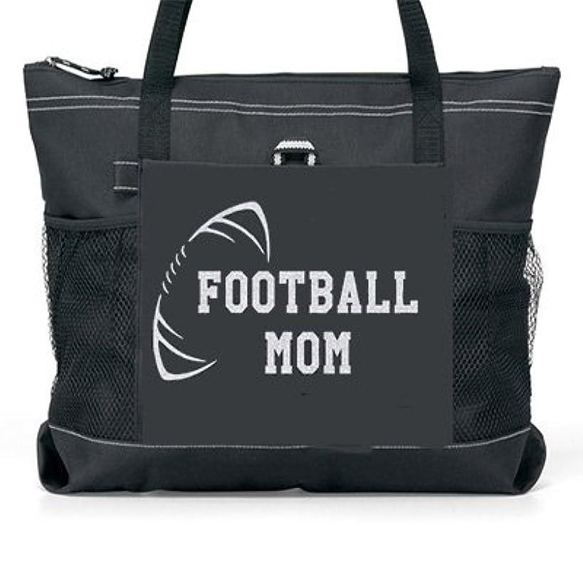Football Mom Silver Glitter design tote Bag.(fb)