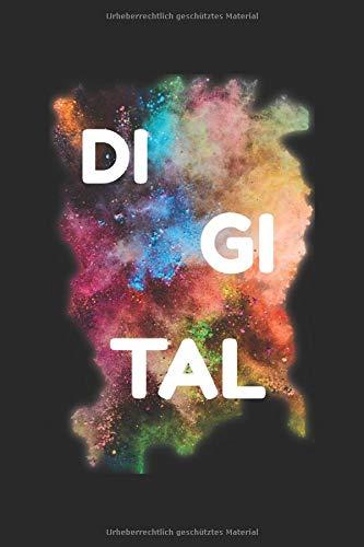 DI GI TAL Notizblock: Notziblock mit 120 Seiten Journal mit einem Linien Design auf weißem Papier mit dem Format 15,24 cm x 22,86 cm.