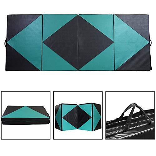 ZENOVA Folding Thick Gymnastics Tumbling Mat Premium 4'x8' Gymnastic Training Mat Durable Crash Panel for Various Activities