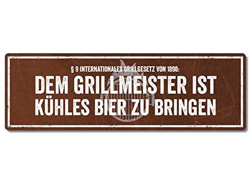 Interluxe Metallschild - Dem Grillmeister ist kühles Bier - Schild für den Grill als Geschenk oder Deko für die Grillecke, wetterfest & Made in Germany