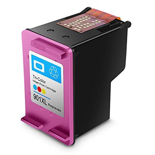 Cartucho de Tinta regenerado HP 901,HP 901 XL Cartuchos de Tinta de Alto Rendimiento para HP DeskJet, HP OfficeJet y HP Envy (1 Tricolor)