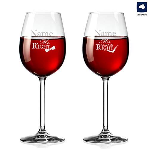 polar-effekt Zwei Weingläser Personalisiert mit Gravur - Rotwein-Glas 460ml - Mr. & Mrs. Always Right - Geschenk zur Hochzeit für Paare