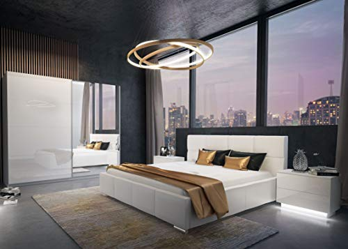 LUK Furniture LINA Schlafzimmer Komplett Set Komplettprogramm Weiß Hochglanz mit Bett Schrank und Nachschränke 3-teilig Spiegel Schwebetürenschrank (180 x 200 cm, 244)