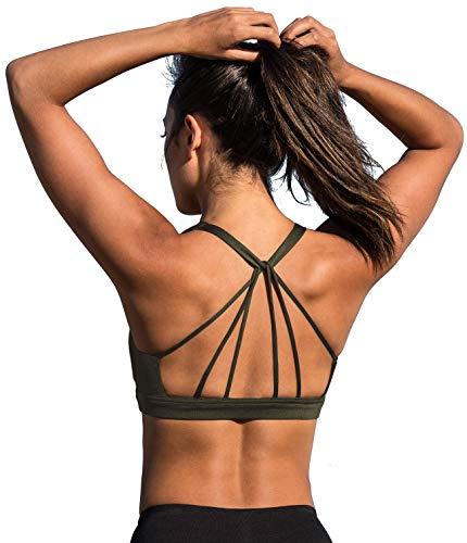 icyzone Yoga Sport-BH Damen Bustier mit Gepolstert - Atmungsaktiv Ohne Bügel Sports Bra Top (M, Army)