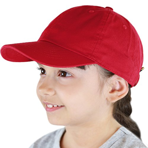 The Hat Depot Kids Washed Low Profile Cotton and Denim Plain Baseball Cap Hat (6-9yrs, Red)