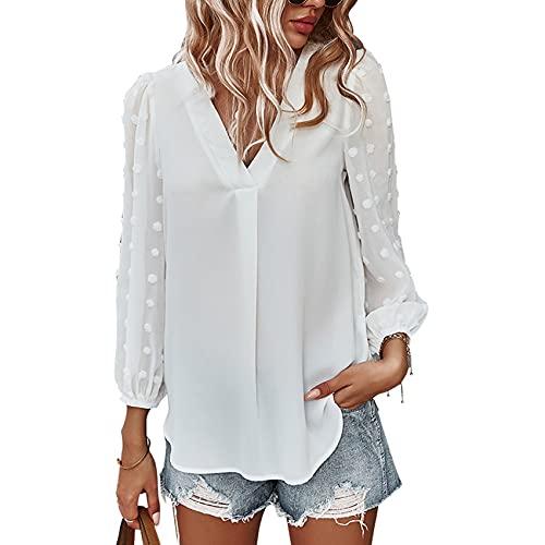 Camisa Informal Holgada De Manga Larga De Primavera Y Verano para Mujer, Jersey con Cuello En V, Camisa De Gasa De Color SóLido, Camiseta Superior para Mujer