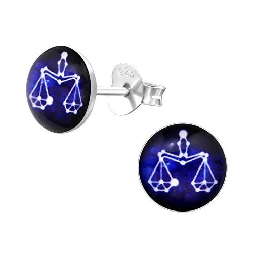 Monkimau Oorbellen voor meisjes, weegschaal, sterrenbeeld, oorstekers van 925 sterling zilver