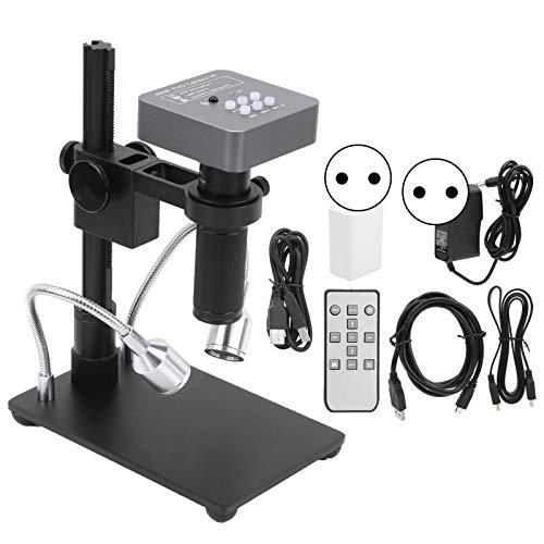 Cámara industrial, 48MP 1080P Full HD HDMI USB Cámara de microscopio de video digital electrónico industrial con lente de montura C 120X para soldadura de PCB de teléfono(EU)
