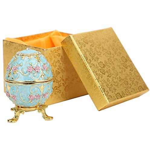 Sheens Scatola per ciondoli per Uova di Pasqua, Uovo Faberge in Smalto Dipinto a Mano con Strass Scintillanti per la Decorazione del Desktop Domestico Regalo Artigianale