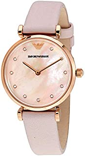 Emporio Armani Retro Women's Pink Mother of Pearl Dial Leather Watch - AR1958