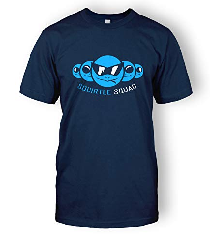 Squirtle Squad T-Shirt Tee Top (X-Large, Navy Blue)
