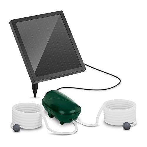 Uniprodo Uni_Pump_03 Solar-Teichbelüfter mit Akku Sauerstoffpumpe 2 Steine Durchfluss 200 l/h Solarzelle 1,4 W Solar-Teichpumpe