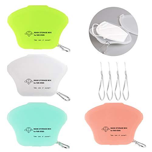 AMZBY 4 Stück Tragbare Maskenbox Masken-Aufbewahrungstasche Masken Aufbewahrungsbox für Mundschutz 4 Farben (Rosa, Grün, Weiß, Leuchtendes Grün)
