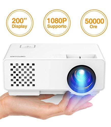 """Mini Proiettore Portatile di DBPOWER, Videoproiettore Home Theater Full-HD 2000lm con Schermo 200"""", Lampada 50000 h e Supporto 1080P, Proiettore Multimediale, HDMI/VGA/AV/USB"""